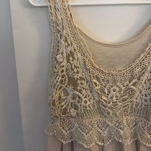 Light Cream Dress with Lace Detailing